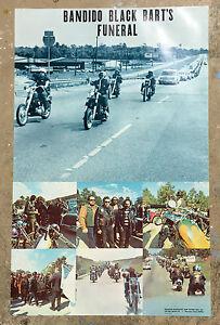 Bandido Black Bart's Funeral Poster Vtg 70's Motorcycle Club Run Chopper color