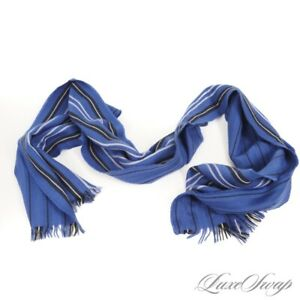 #1 MENSWEAR Allen Edmonds Made in Scotland Royal Blue Repp Stripe Merino Scarf