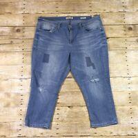 Seven7 Easy Fit Stretch Distressed Denim Crop Capri Jeans Womens Size 16