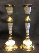 "8 1/4"" Tall Brass and Mother of Pearl Inlay Candlesticks 2 Pair New in Box-India"