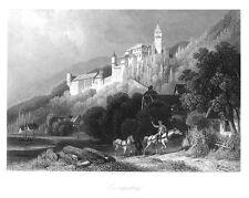 Zwingenberg, Burg, am Neckar, größerer Original-Stahlstich ca. 1850