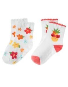 GYMBOREE ALOHA SUNSHINE FLOWER  2-pair OF GIRLS SOCKS 0 6 12 24 2T 3T NWT
