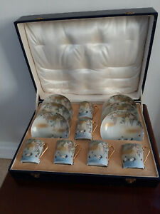 Stunning hand painted boxed Japanese 12 piece / 6 cup Coffee Set Storks design