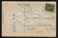 1910 auxiliary marking UNMAILABLE used glitter card, Grand Forks ND