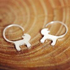 Silver Minimalist Cat Tail Earrings Pair Half Hoop Design