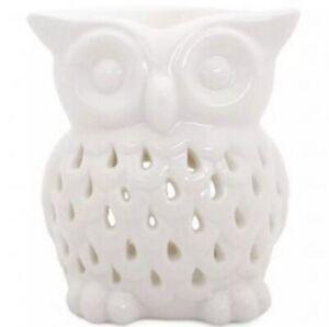 White Owl Ceramic Oil Burner Tea Light Candle Wax Melt Aromatherapy Free Gift