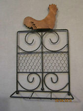 NEW Black Metal Book / Cookbook Stand with Wooden Rooster - country kitchen