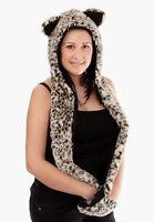 Ladies Warm Fur Hood Hat Scarf Mittens Gloves In One Lined Leopard Wolf Design