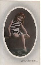 Children Postcard - Small Girl in Bathing Costume - Foot in Water - Ref ZZ4467