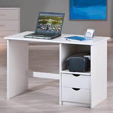 Tisch Schreibtisch Bürotisch Computertisch Massivholz Weiß 2-Schubladen NEU