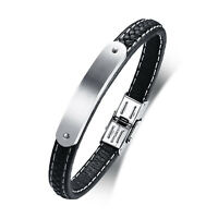 Mens Boys Stainless Steel Bend Tag Black Braided Leather Bracelet Cuff Bangle