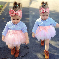 2Pcs Toddler Kids Baby Girls Bow Stripe Tops+Tutu Skirt Infant Outfits Clothes