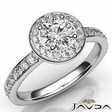 Marvelous Round Diamond Halo Pave Set Engagement Ring GIA E VVS2 Platinum 1.16Ct