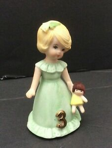 Vintage Enesco Growing Up Birthday Girls age 3 Blonde - New Out Of Box