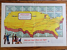 1952 American Airlines Ad  Map Routes Name Your Ticket Choose Your Flight
