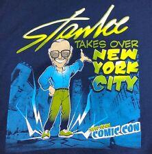 STAN LEE T-Shirt Takes Over New York City Comic Con Mens MEDIUM Blue Pow NYCC