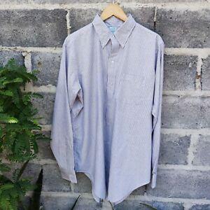 Vintage 80s Brooks Brothers OCBD Dress Shirt Blue and White  Striped 17 1/2 - 6