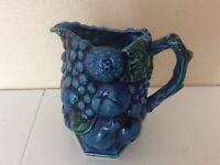 "VTG Inarco Mood Indigo Blue Fruits Ceramic Pitcher 6 1/8"""