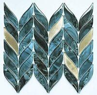 Mosaic Tile Backsplash Kitchen Wall, Marble Glass Leaf Shape Glazed Polished