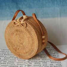Woven Round Straw Rattan Bag Summer Beach Leather Straps Boho Crossbody Bags