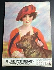 St Louis Post Dispatch Calendar Sign Pretty Flapper Girl 1925 Haskell Coffin