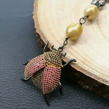 Champagne Rice Pearl Chain Beetle 22''  Necklace Cz Pave Pendant