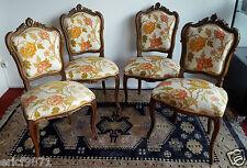 Superbe série de 4 chaises Louis XV Rocaille en noyer a décors de coquilles
