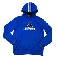 Adidas Sweatshirt Youth Kid Size Large Blue Hoodie Long Sleeve Athletic Pullover