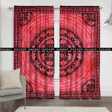 Elephant Mandala Indian Cotton Tab Top Door Curtains Window Bedroom Valances Set
