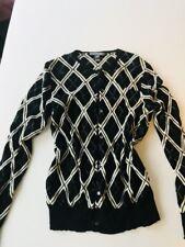 Saks Fifth Avenue Black/White Argyle Cashmere Cardigan Sweater Size XLarge