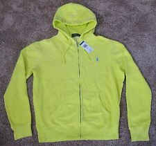Polo Ralph Lauren NEON YELLOW FULL ZIP HOODED SWEATSHIRT Jacket MENS L LG HOODIE