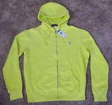 Polo Ralph Lauren NEON YELLOW FULL ZIP HOODED SWEATSHIRT Jacket MENS L LG HOODIE