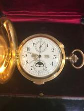 18K Gold Repeater Full Calendar Moon Phase Pocket Watch with Original Box D.57mm