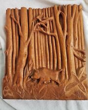 ARTISAN Wooden Wall Art Panel Hand Carved Plaque WILD BOAR IN THE WOODS GIFT