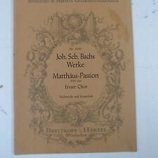 cello/bass BACH Matthaeus Passion erster chor BWV 244 Breitkopf & Haertel 4950