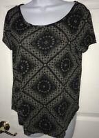 LUCKY BRAND Women's SMALL Black Charcoal Gray Geometric Boho Knit Tunic