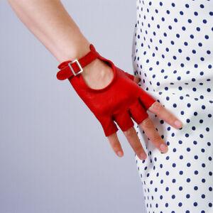 💯% REAL LEATHER Fingerless Short Gloves Black Silver Square Buckle Half Finger