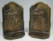 Antique Cast Iron 'THE STORM' Decorative Art Bookends Connecticut Foundry c1928