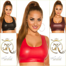 Sexy Lederlook Crop Top schwarz rot bauchfrei figurbetont Shirt Wetlook 34 36 38