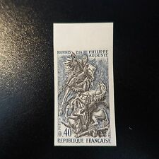 HISTOIRE PHILIPPE AUGUSTE N°1538 TIMBRE NON DENTELÉ IMPERF 1967 NEUF** LUXE MNH