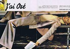 PUBLICITE ADVERTISING 114 1977 GUY LAROCHE 'J'ai osé' parfum (2 pages)