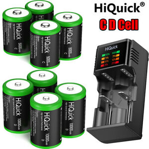 5000/10000mAh Ni-MH C D Size Cell Rechargeable Batteries Battery / Charger Lot
