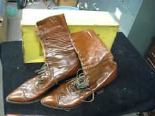 Antique Victorian Edwardian Walk Over Shoe Leather Lace Up Granny Boots w/ Box