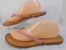 Antonio Melani Womens Flats Flip Flops Size 9 M Leather Straps w/Bling Pink, Tan