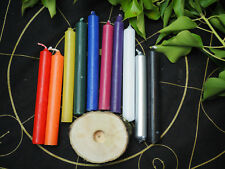 10 Coloured Wiccan Spell Candle set with/out Wooden Candle Holder - Witchcraft