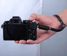 Black Leather Camera Hand Wrist Strap fr Fuji Panasonic Samsung Sony ILDC Camera