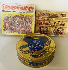 Disney Fantasy 300 Character Treasure 550 Piece Puzzle & Trivia Lot Of 3
