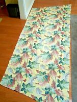VINTAGE BARKCLOTH DRAPERY PANEL FABRIC ONE LARGE PIECE LONG RECTANGLE  LEAVES