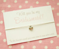 Will You Be My Bridesmaid? Heart Charm Wish Bracelet Gift & Envelope ~ White
