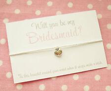 Veux-tu être ma demoiselle d'honneur? cœur charme Wish Bracelet Cadeau & enveloppe ~ Blanc